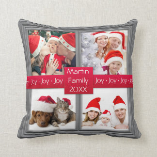 Merry Christmas Silver Photo Collage | Custom Cushion