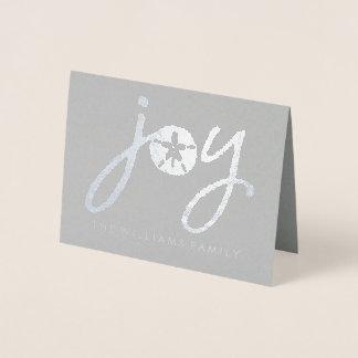 Merry Christmas | Silver Sand Dollar Foil Card