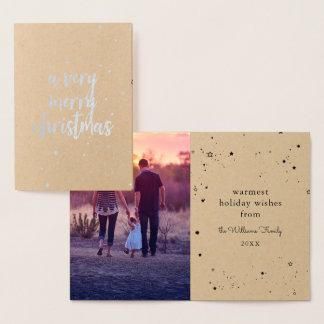 Merry Christmas Silver Star Sprinkle Foil Card