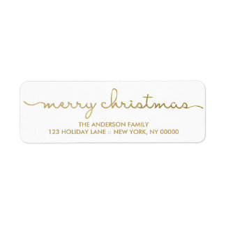 Merry Christmas Simple Gold Hand Lettered Label Return Address Label