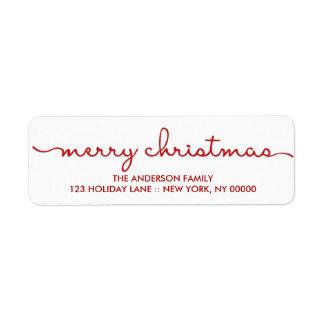Merry Christmas Simple Hand Lettered Script Label Return Address Label