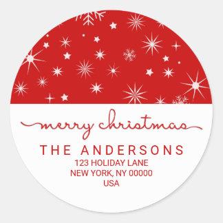 Merry Christmas Simple Handwritten Return Address Round Sticker