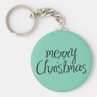 Merry Christmas - simple Handwritten Text Design Key Chain
