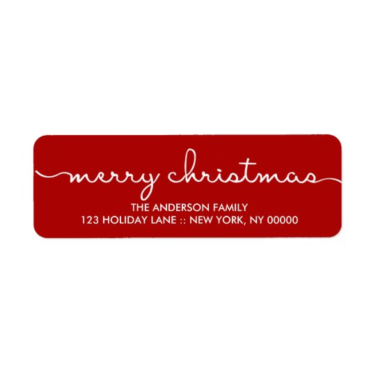 Merry Christmas Simple Red Hand Lettered Label Return Address Label