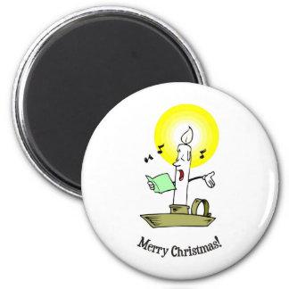 Merry Christmas, Singing candle making light Fridge Magnets