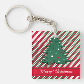 Merry Christmas Single-Sided Square Acrylic Key Ring