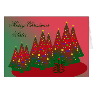 Merry Christmas Sister: Red and Green Tree Card