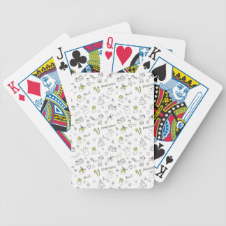 Merry Christmas Sketches Pattern Bicycle Playing Cards