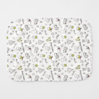 Merry Christmas Sketches Pattern Burp Cloth