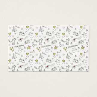 Merry Christmas Sketches Pattern Business Card