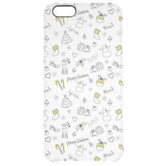Merry Christmas Sketches Pattern Clear iPhone 6 Plus Case