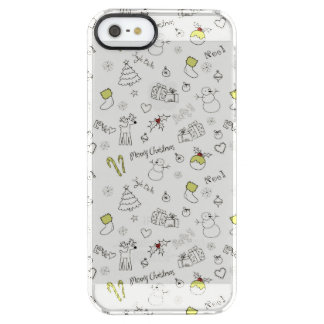 Merry Christmas Sketches Pattern Clear iPhone SE/5/5s Case