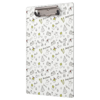 Merry Christmas Sketches Pattern Clipboard