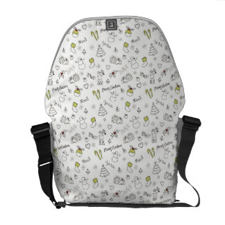 Merry Christmas Sketches Pattern Courier Bag