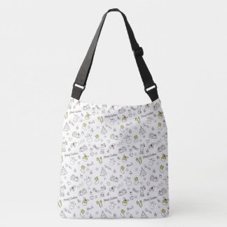 Merry Christmas Sketches Pattern Crossbody Bag