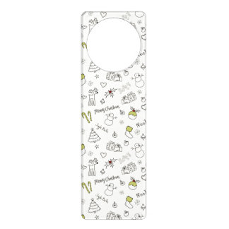 Merry Christmas Sketches Pattern Door Hangers