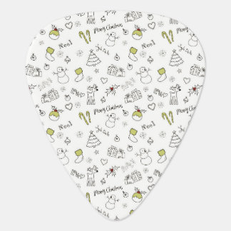 Merry Christmas Sketches Pattern Guitar Pick