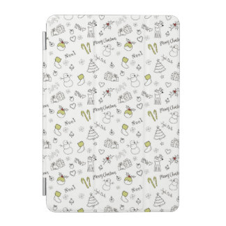 Merry Christmas Sketches Pattern iPad Mini Cover