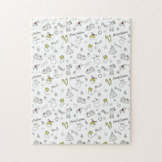 Merry Christmas Sketches Pattern Jigsaw Puzzle