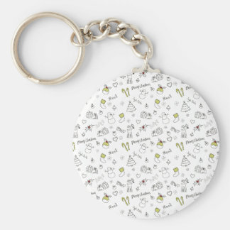 Merry Christmas Sketches Pattern Key Ring