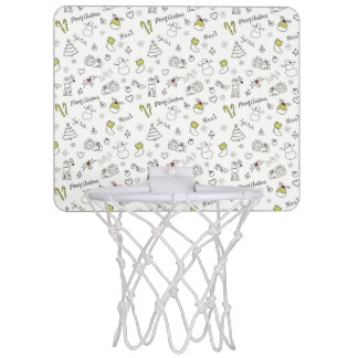 Merry Christmas Sketches Pattern Mini Basketball Hoop