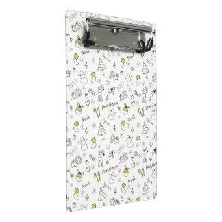 Merry Christmas Sketches Pattern Mini Clipboard