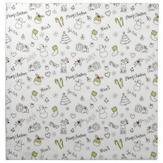 Merry Christmas Sketches Pattern Napkin