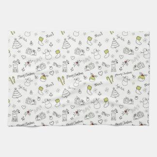 Merry Christmas Sketches Pattern Tea Towel