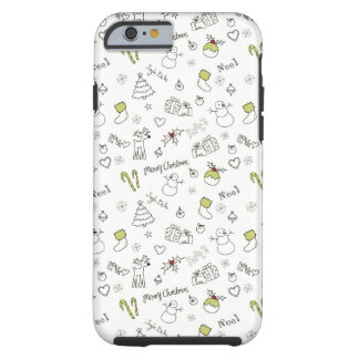 Merry Christmas Sketches Pattern Tough iPhone 6 Case