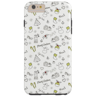 Merry Christmas Sketches Pattern Tough iPhone 6 Plus Case