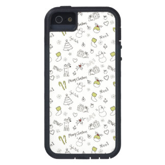 Merry Christmas Sketches Pattern Tough Xtreme iPhone 5 Case