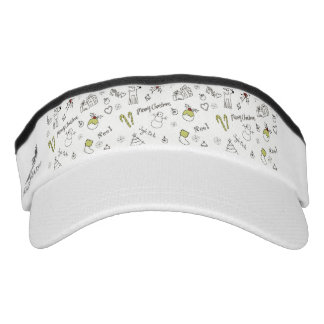 Merry Christmas Sketches Pattern Visor