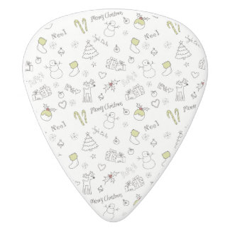 Merry Christmas Sketches Pattern White Delrin Guitar Pick