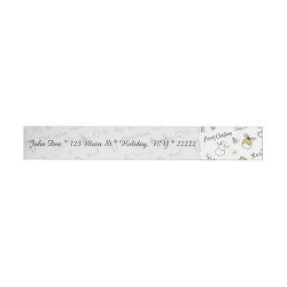 Merry Christmas Sketches Pattern Wraparound Address Label