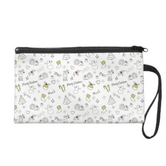 Merry Christmas Sketches Pattern Wristlet
