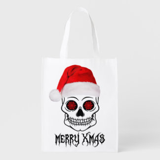 Merry Christmas-Skull Reusable Grocery Bag