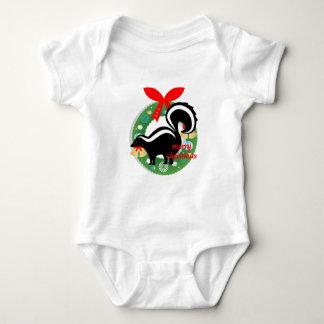 merry christmas skunk baby bodysuit