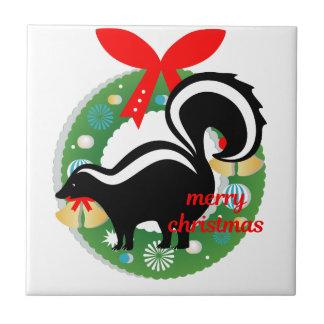 merry christmas skunk ceramic tile