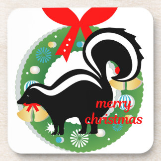 merry christmas skunk coaster