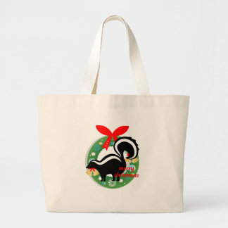 merry christmas skunk large tote bag