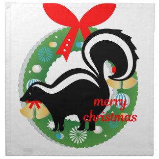 merry christmas skunk napkin