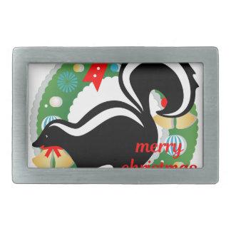 merry christmas skunk rectangular belt buckle