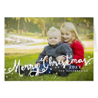 Merry Christmas Slanted Script Holiday Photo Card