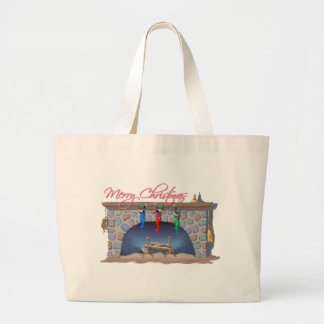 MERRY CHRISTMAS SLEEPING ELVES by SHARON SHARPE Large Tote Bag
