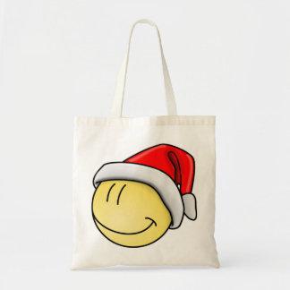 MERRY CHRISTMAS SMILEY FACE SANTA TOTE BAG