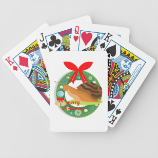 merry christmas snail bicycle playing cards