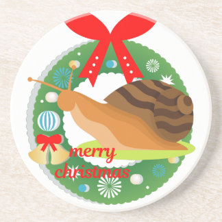 merry christmas snail coaster