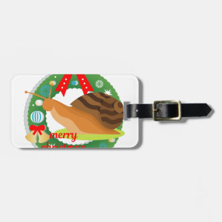 merry christmas snail luggage tag