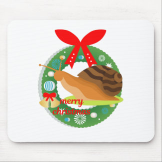 merry christmas snail mouse pad