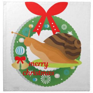 merry christmas snail napkin